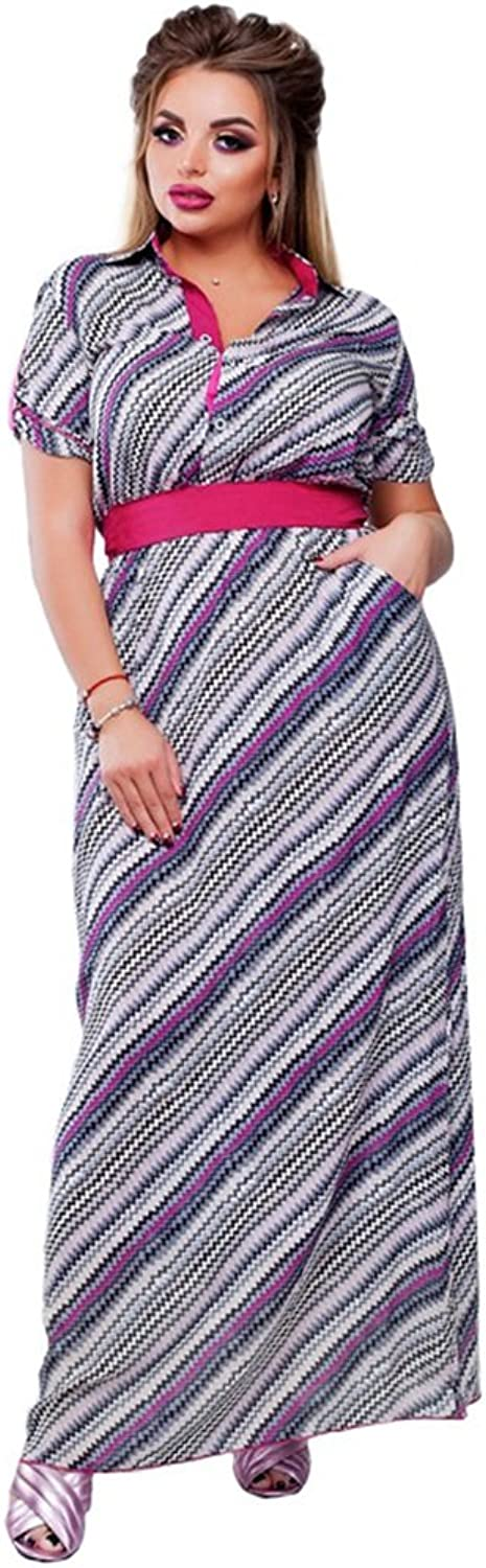 Women's Dress,Large Size Fashion Stripe Printing Long Skirt,Party Prom Cocktail Dress (color   A, Size   XL)