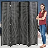 Room Dividers Living Folding Room Divider ,4 Panel Partition Wall 72 Inch Tall Room Divider for Living Room Bedroom Study Portable Room Seperating Divider Home Furniture 17.7 Inches Wide,Black