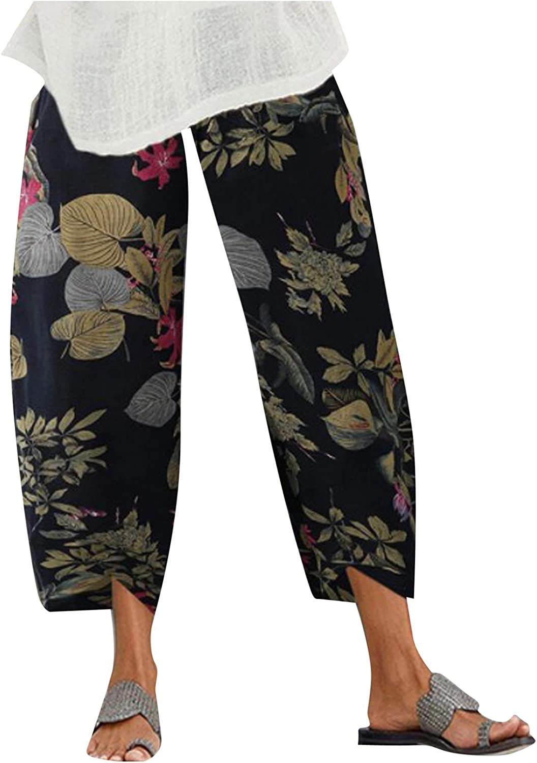 Hmazy Cotton Linen Cropped Pants for Women, Colorful Printed Linen Casual Workout Cargo Pants Active Wear with Pockets