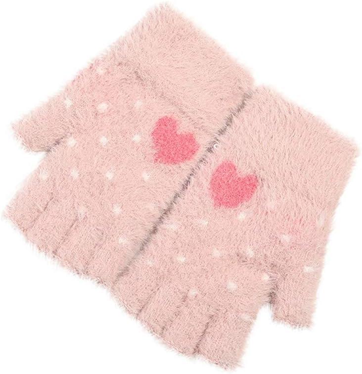 EODNSOFN 1Pair Women Girls Lovely Winter Warm Fingerless Gloves Fluffy Dot Print Knitted Gloves Plush Paw Claw Half Finger Gloves Mitten (Color : A)