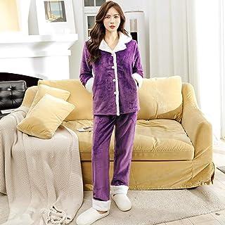 Pijama de dos piezas para mujer Camisón de mujer Pijamas suaves de franela de invierno para mujer, pijamas gruesos y cálidos de lana de coral, pijamas bordados para mujer, pijamas para el hogar, púr