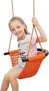 Topwon Hammock Swing Seats for Kids Heavy Duty Rope Play Secure Children Swing Set, Perfect for Indoor,Outdoor, 253 lbs Capacity (Orange)