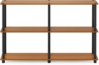 Furinno Turn-N-Tube 3-Tier Double Size Storage Display Rack, Light Cherry/Black