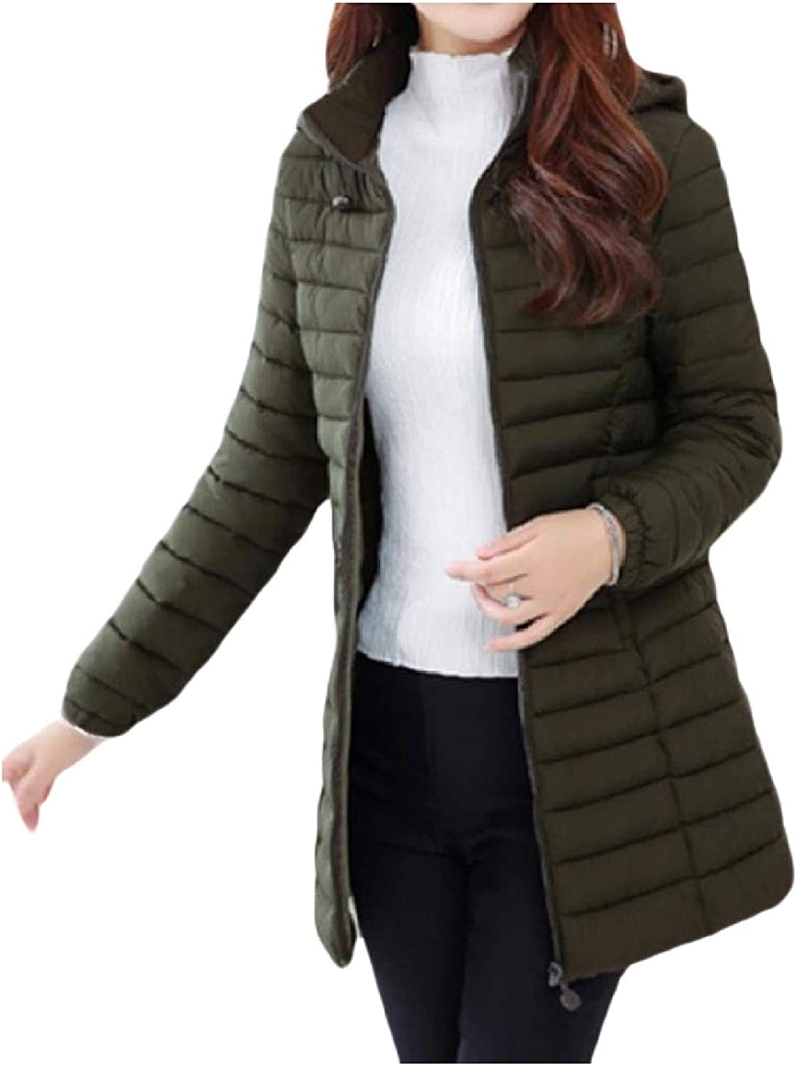 Women Skinny Lightweight Plus-Size Quilted Down Jacket with Hood Coat