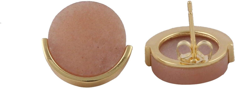 El Joyero Handmade Small Stud Sun Stone. Gold Plated Design Gemstone Brass Earrings Jewelry EJ-1425--7