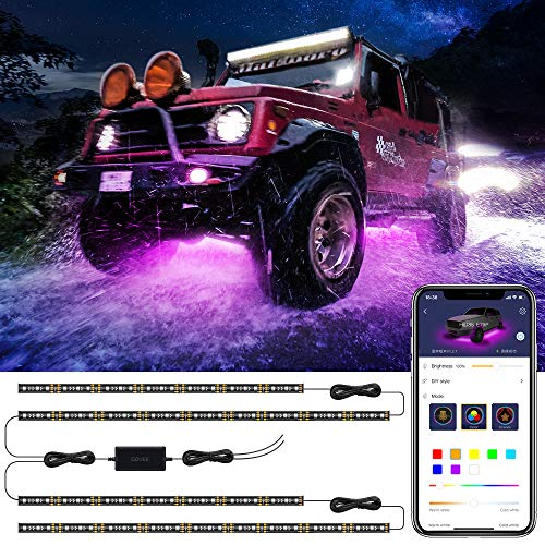 4 Pods Multicolor Neon Lights Kits For Off Road Motorcycle NBWDY 4 Pods 9W RGB Led Rock Lights With 4Key RF Bluetooth Controller,16 Solid Color Dimmable,Timing Function,Music mode Truck,SUV,ATV