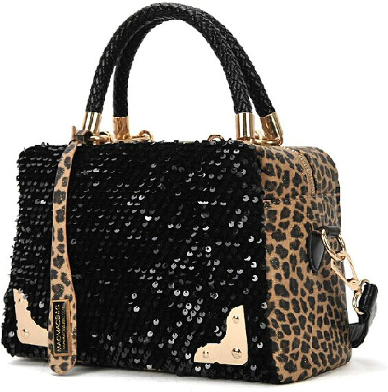 Catkit Fashion Womens Leopard Sequins Tote Handbag Shoulder Bag