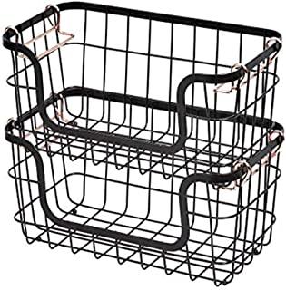 Amazon Basics Paniers de rangement empilables en métal pour cuisine ou salle de bain