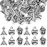 120 Pieces Alloy Baseball Charms Silver Softball Charms Baseball Glove Bat Charms Antique Softball Beads Sports Theme Pendants for Bracelet Necklace Earring DIY Jewelry Making, 3 Styles