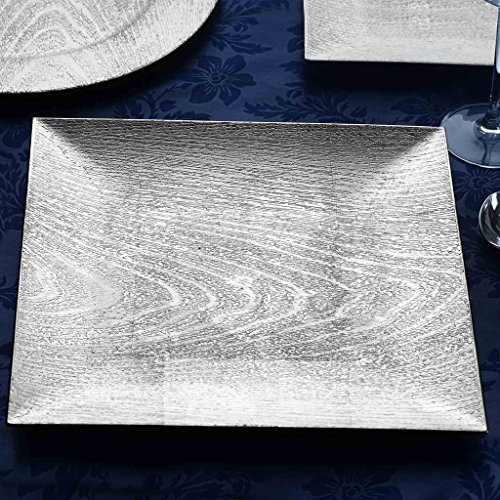 BalsaCircle 6 pcs 12-Inch Silver Wooden Textured Square Charger Plates - Dinner Wedding Supplies for all Holidays Decorations
