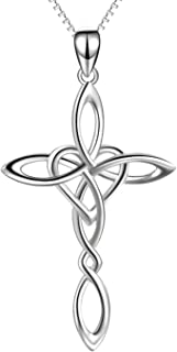 Celtic Knot Cross Pendant Necklace Sterling Silver Religious Irish Infinity Love Heart Irish Celtics Necklace Jewelry for Women Girls