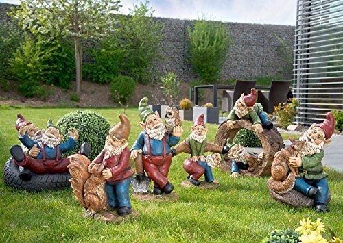 Royal Gardineer Gartenzwerg-Duo mit Häschen im Baumstumpf, handbemalt - 3