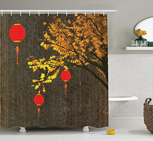Laternendekor Duschvorhang Set, fällt Baum mit scharlachroten Laternen dramatische schattierte Vintage inspirierte saisonale Design, Bad-Accessoires, rot-orange