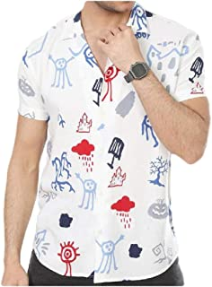 MogogNMen Floral Printed Beach Button Down Short-Sleeve Casual Leisure Shirt