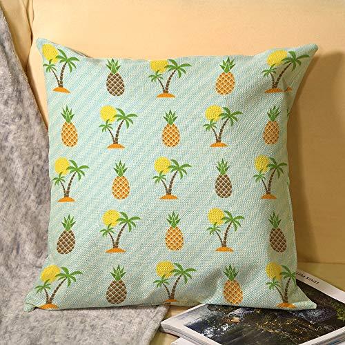 Hioilyday - Funda de almohada de lino con diseño de árbol de coco hawaii, diseño de piña, dos caras, para verano, exótica planta, para decoración del hogar HX20200327PLT028 elementos de piña 45 x 45 cm