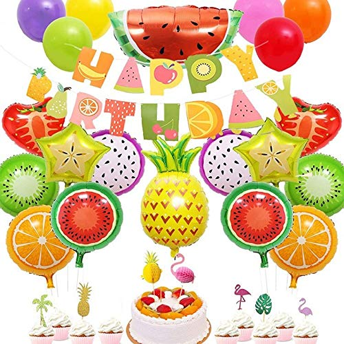 WATERMELON Summer Fruit Banner Set Flamingo Pineapple Honeycomb Ball Flag Birthday Foil Balloon Set Pull Flag Background Decoration