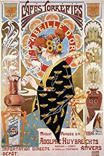 COFFEE CAFES TORREFIES LABEILLE D'OR FRENCH VINTAGE POSTER REPRO