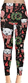 Women's Funny Xmas Leggings Christmas Lights Kitty Cat Aztec Printed Tights, XS-5XL