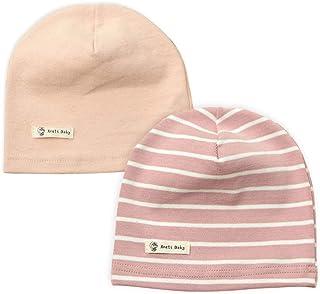 7facdbaa14d4b Lacofia Lot de 2 Bonnet de naissance en coton pour bébé filles Chapeaux  tricotés enfant filles