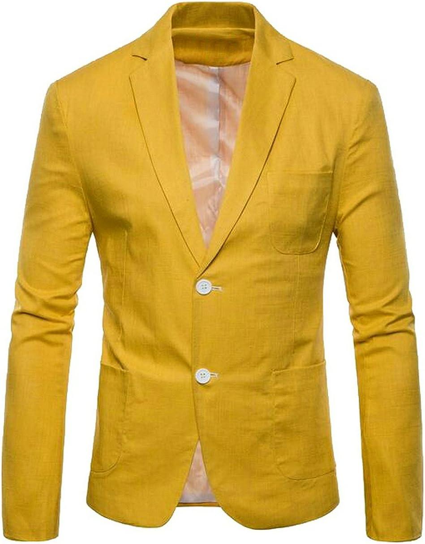 ARTFFEL-Men Casual 2 Buttons Solid Color Cotton Linen Slim Fit Blazer Suit Jacket Coat