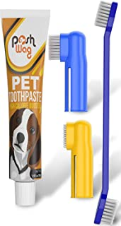 Ortz Dog Toothpaste and Toothbrush Set [REMOVES Food Debris] Double Sided with Long Curved Handle [Super Easy Cleaning] (Dog Toothbrush with Toothpaste Set)