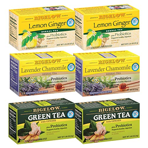 Bigelow Mixed Probiotic Green Caffeinated and Herbal Decaffienated Teas 20 Count (Pack of 6), 120 Tea Bags Total