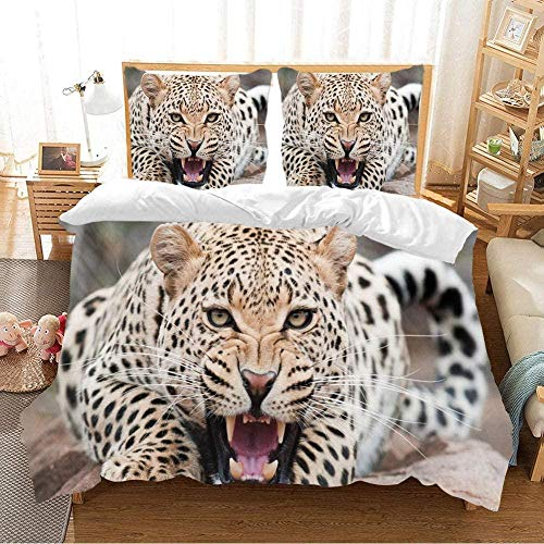 Matasuer Duvet Cover With Pillow Cases - African Animal Cheetah - Single (135 X 200 Cm) Quilt Cover Bedding Bedroom Set Soft Hypoallergenic Brushed Microfibre - Gift For Teens Girls