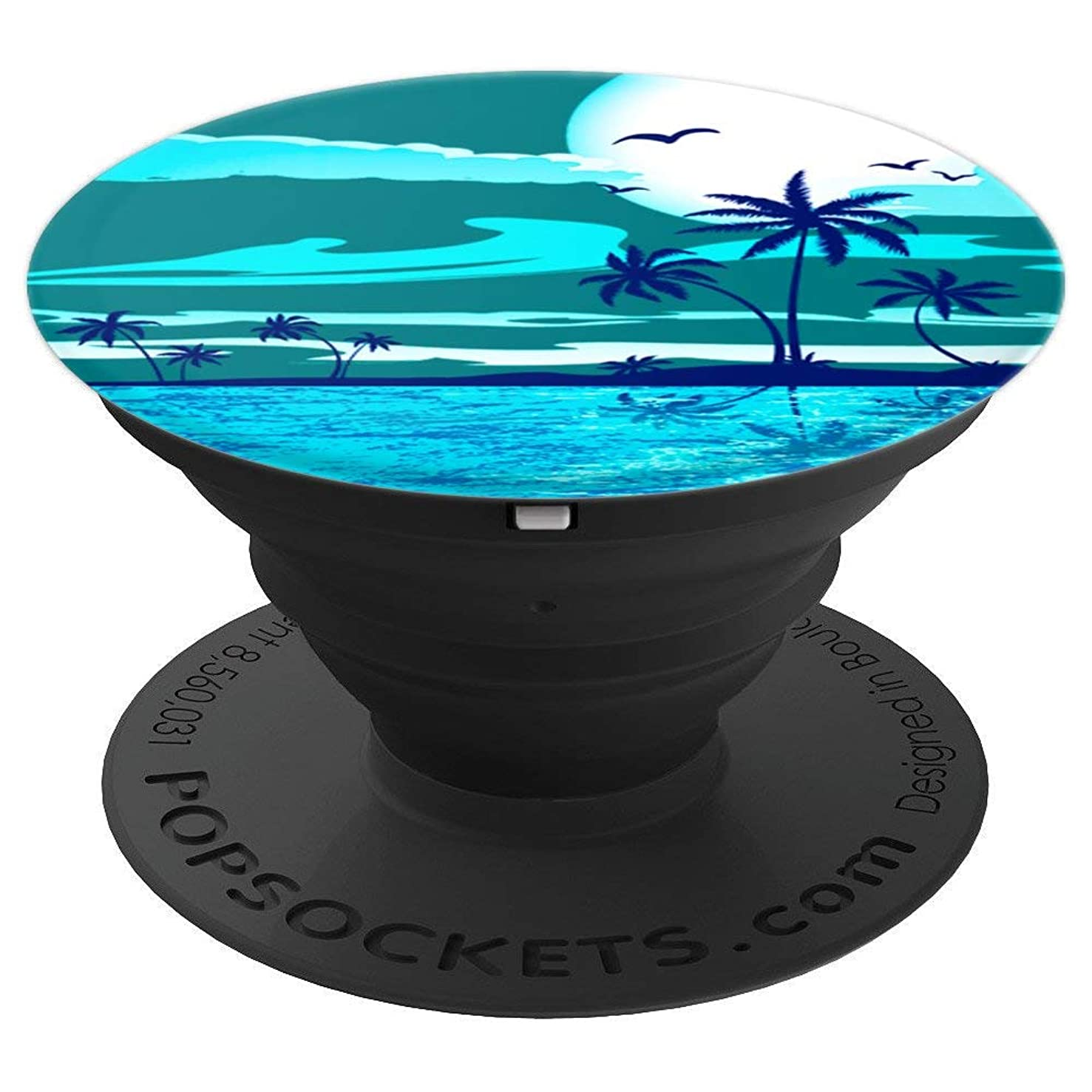 Beach Vacation Caribbean Tropical Coconut Palm Tree - PopSockets Grip and Stand for Phones and Tablets