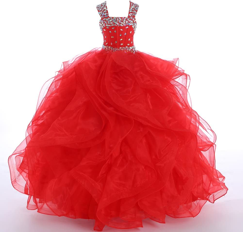 At the price Award-winning store of surprise WZY Girls Crystal Beaded Ruffled Ball Party Gown Christmas Princ
