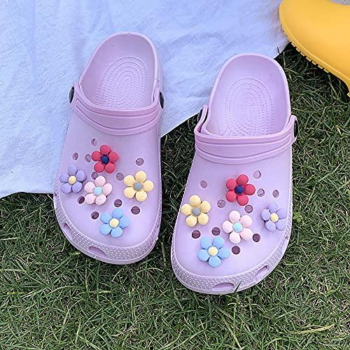 COQUI Chanclas Mujer,Lindas Zapatillas de la Playa de la Flor de Extremo Grueso Verano Nuevos Zapatos de la Cueva de la Cueva Bolsa de Las Mujeres Fuera del Desgaste de la Moda Casual-púrpura_40-41
