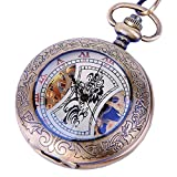 Skeleton Pocket Watch Chain Antique Look Mechanical Hand Wind Up Half Hunter Value Quality - PW14