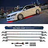 LEDGlow 4pc Red Slimline LED Underbody Underglow Accent Neon Lighting Kit for Cars - Solid Color Illumination...