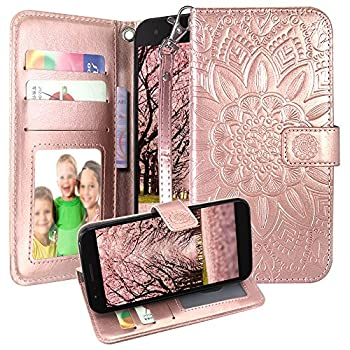 Harryshell Kickstand Flip PU Wallet Leather Protective Case Cover with Card Slots Wrist Strap for LG K10 2018 / K30  X410  / Harmony 2 / Phoenix Plus/Premier Pro LTE  Rose Gold
