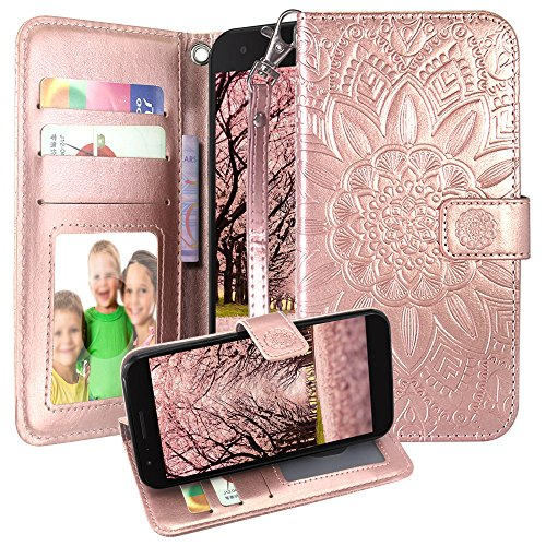 Harryshell Kickstand Flip PU Wallet Leather Protective Case Cover with Card Slots Wrist Strap for LG K10 2018 / K30 (X410) / Harmony 2 / Phoenix Plus/Premier Pro LTE (Rose Gold)