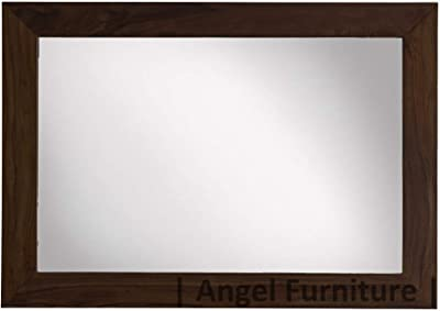 Angel's Solid Sheesham Wood Mirror Frame Without Mirror (Walnut Finish, 22X34)