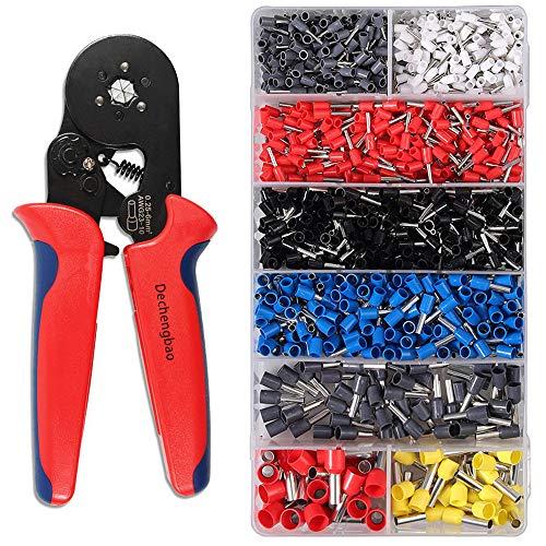 Dechengbao Sechseckig Crimper-Zangensatz, 0,25-6 mm² / AWG23-10 Selbsteinstellbares Ratschen-Draht-Crimpwerkzeug mit 1200PCS-Drahtklemmen-Crimpverbindern und Drahtendhülsen