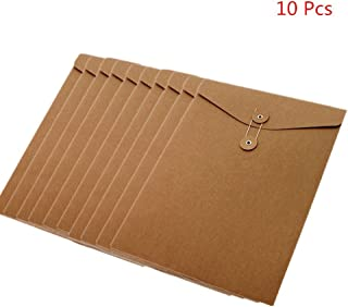 Funnylive 10 Pcs;A4 Kraft Paper Project Envelope with Expandable Gusset File Bags Office Supplies File Folders Project Pockets (Vertical Version)