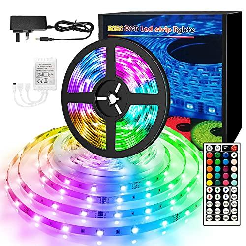 Tiras LED de 10 m, 5050 luces LED RGB, IP20, no impermeable, cambio de color con 20 colores, 8 luces, kit de tiras de luces LED con 44 teclas