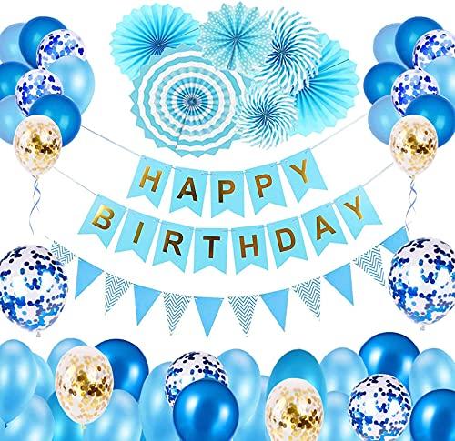 Bellatoi Blue Birthday Decoration Globos Juego de decoración de cumpleaños con pancarta...