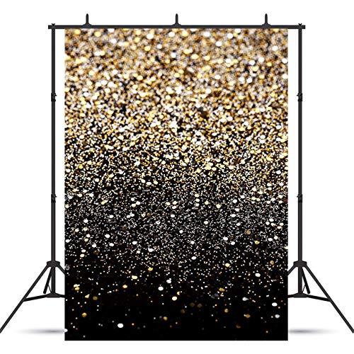 Sensfun 5x7ft Gold Glitter Sequin Spot Photo Backdrop Black Shining Starry Sky Photography Backgrounds for Wedding Children Newborn Birthday Portrait Photobooth Banner Photo Studio Props(ZLA29/5x7ft)