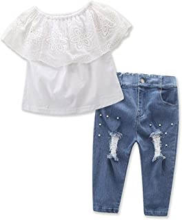 Chumhey Little Girls Lace Big Ruffled Off-Shoulder Shirt Ripped Jeans Pants Set