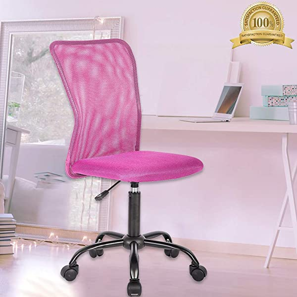 Meet Perfect Ergonomic Office Chair Mid Back Adjustable Rolling Swivel Back Support Executive Desk Chair Computer PC Mesh Chair Modern Task Chair With Wheels For Home Office Women Men Pink