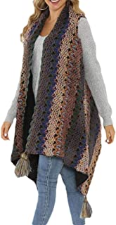 Women Sleeveless Cable Knit Asymetric Hem Open Front Cardigan Top