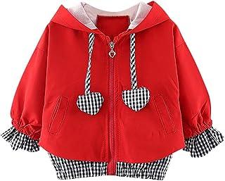 sunnymi Baby Kinder Kleidung 1-4 Jahre Baby Mädchen Winddicht Mantel, sunnymi  Kind Herz-Plaid mit Kapuze Outwear Beiläufige Kleidung