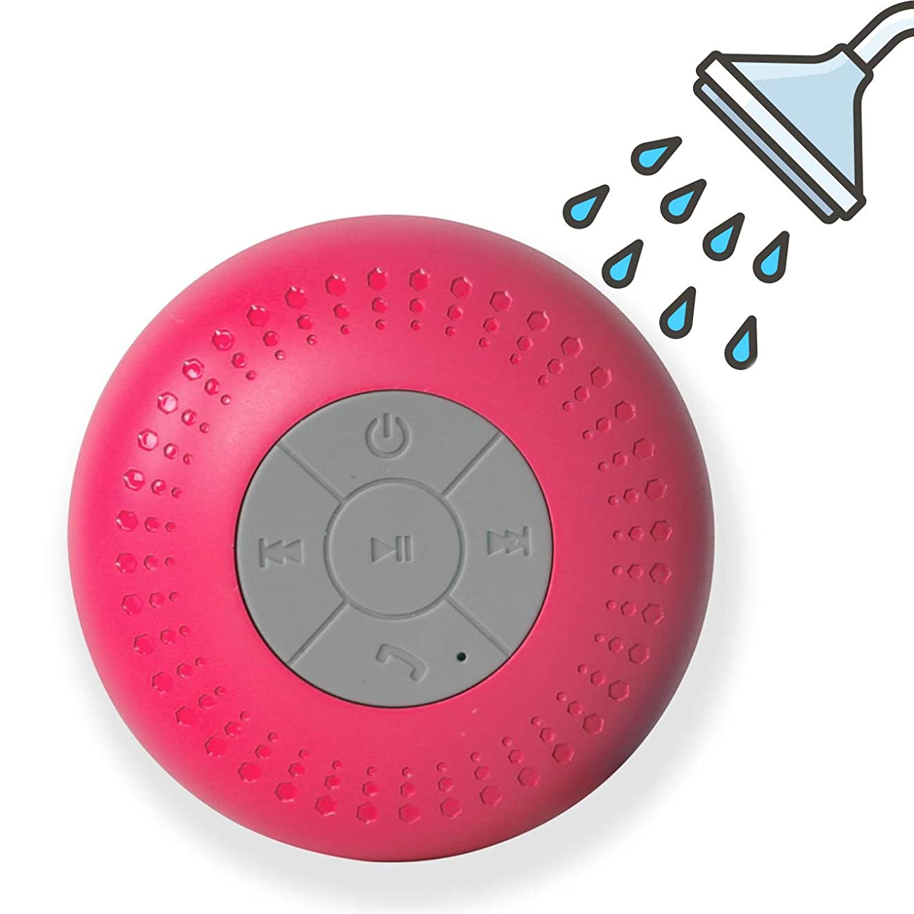 Mini Waterproof Shower Speaker with Suction Cup, Portable Wireless Bluetooth Speaker with Enhanced 3D Stereo Bass Sound for Shower, Home, Pool, Beach, Boating, Hiking (Pink)