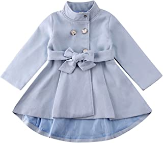 NinePercent Toddler Baby Girl Fleece Coat Tops Dress Solid Snap Closure Outerwear Bell Bottom Waist Tie Tunic Jeaket Outfit