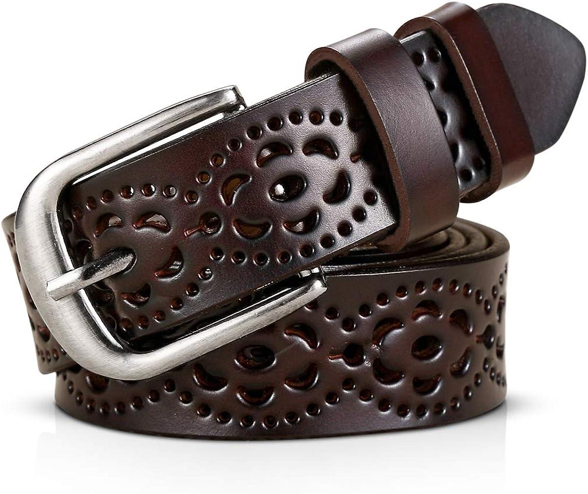 DORRISO Fashion Store Genuine Cowhide Leather Women In stock Hollow Belt Flower