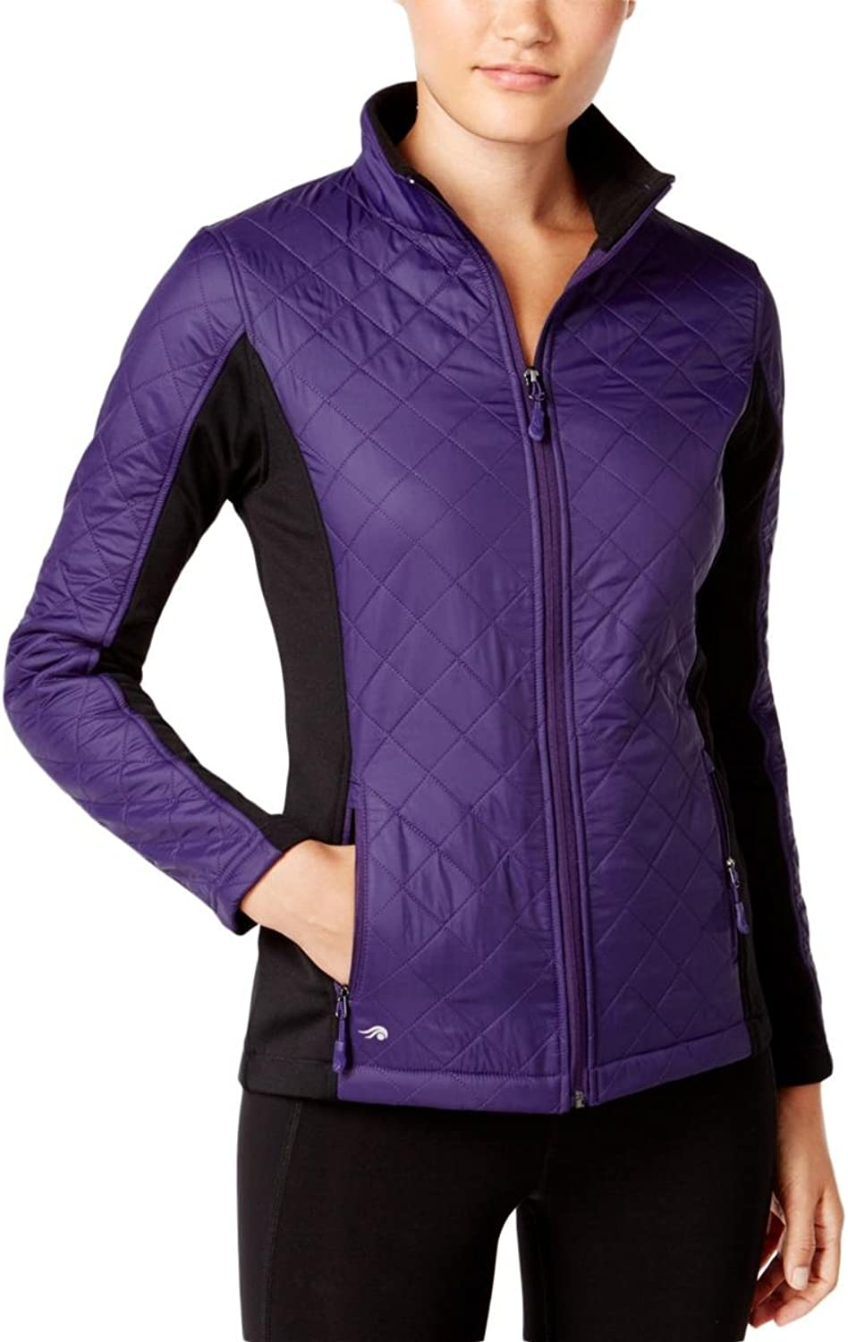 Ideology Womens Quilted TwoTone Jacket Purple XS