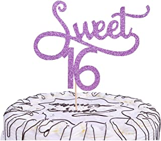 YUINYO SWEET 16 Glitter Happy Birthday Cake topper - Forever 16 Party Favors - 18th Birthday Party Decoration-16th Anniver...