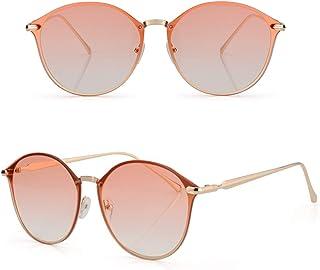 Cat Eye Sunglasses for Women Oversized Mirrored UV Protection Metal Frame Sunglasses for Traveling Driving